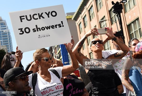 Model Amber Rose and her mother Dorothy Rose attend the Amber Rose SlutWalk LA at Pershing Square on October 3 2015 in Los Angeles California
