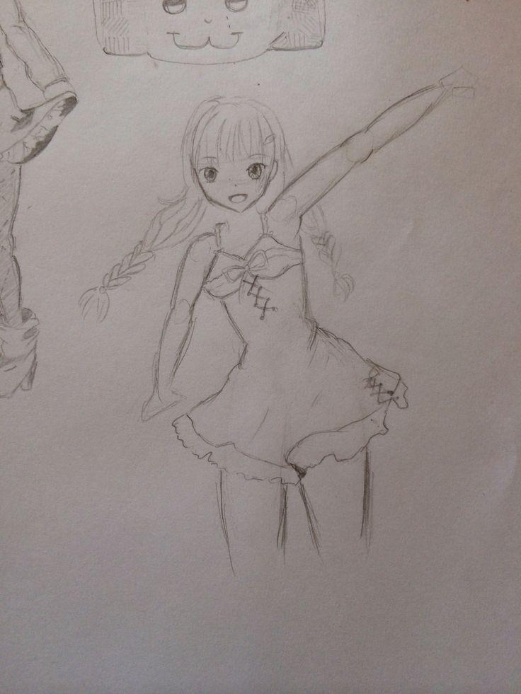 Manga girl draw happy