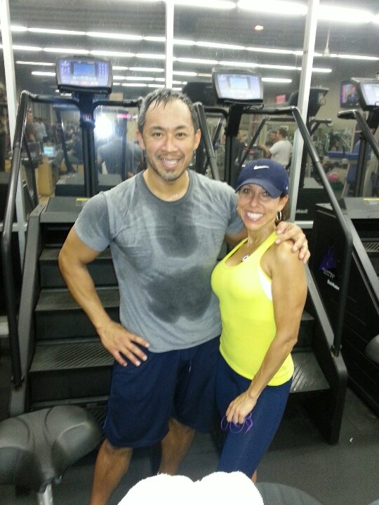 BBF CEO Scott Yonehiro with Senior Trainer Marcia Whitfield after a sweaty workout... Practicing what we preach!