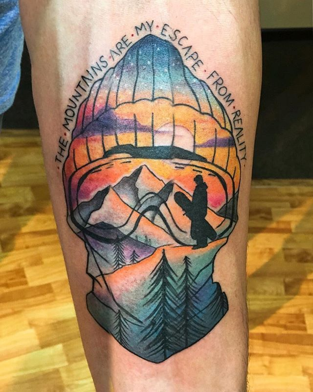 I'm looking forward to another tattoo and i decided it should be a mountain view with a snowboarder! This one inspires