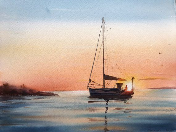 Sailing yacht and fire sunset – Watercolor Painting Original art seascape wall yachts sea sun artwork