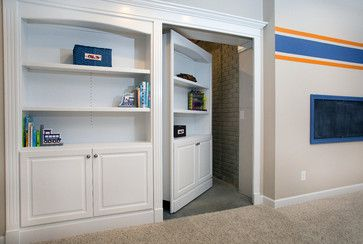 Basement Design Ideas... Loving these creative ways to hide the unfinished storage areas.