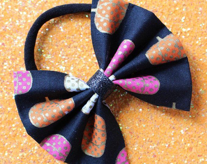 Baby Girl | Newborn | Toddler | Girls Halloween Pumpkin Bow Nylon Headband | Hair Clip | Boy Bow Tie | Pig Tail Bows