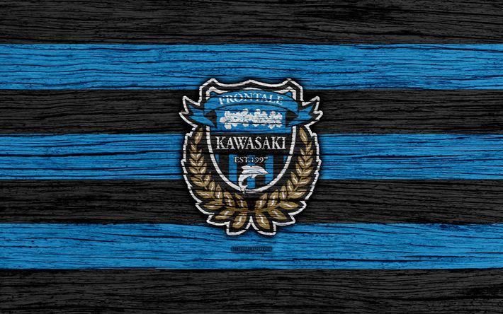 Download wallpapers Kawasaki Frontale, 4k, emblem, J-League, wooden texture, Japan, Kawasaki Frontale FC, soccer, football club, logo, FC Kawasaki Frontale