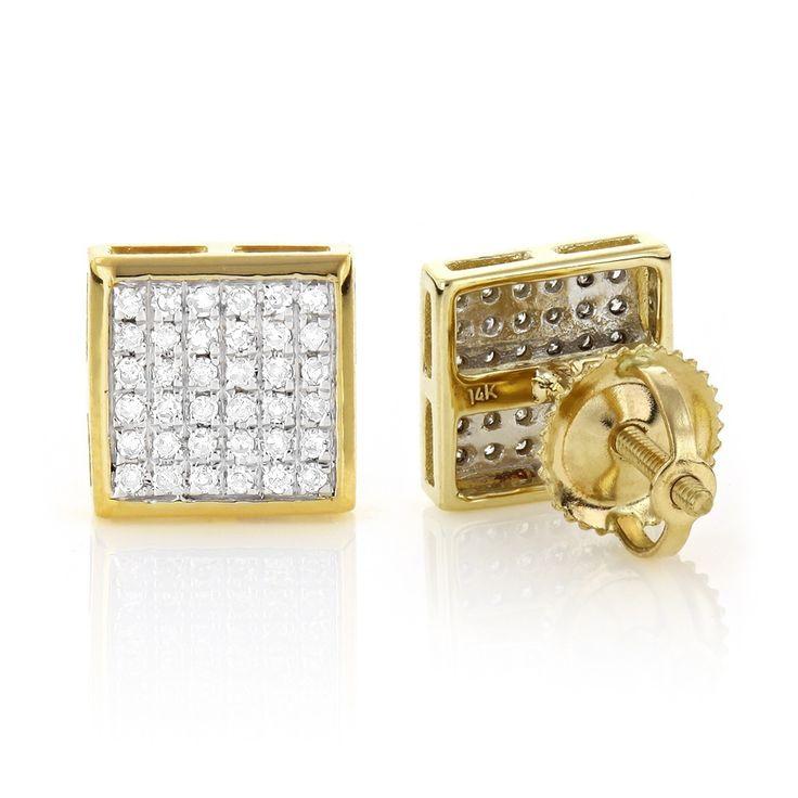 Gold Square Stud Earrings