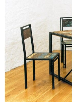 Gorgeous-looking dining chairs using reclaimed wood and metal from old  boats and ships. Baumhaus Urban Chic Pack of 2 x Dining Chairs