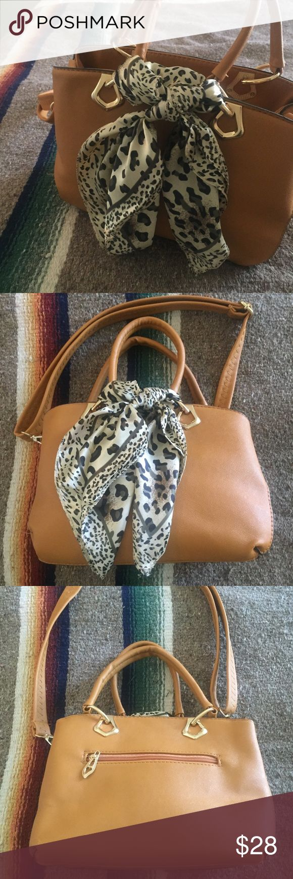Satchel Purse with Scarf beautiful vegan leather buttery brown bag, UK 🇬🇧 brand Florence and Fred. got as a gift and never used, nwot. long strap or shorter handles, cute leopard print scarf. gold zippers, compartments inside for glasses, etc. Bags Satchels