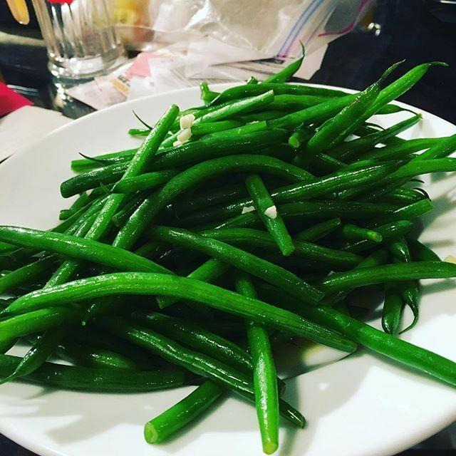 Haricots Vert steamed with garlic mmmmm #haricotvert #garlic