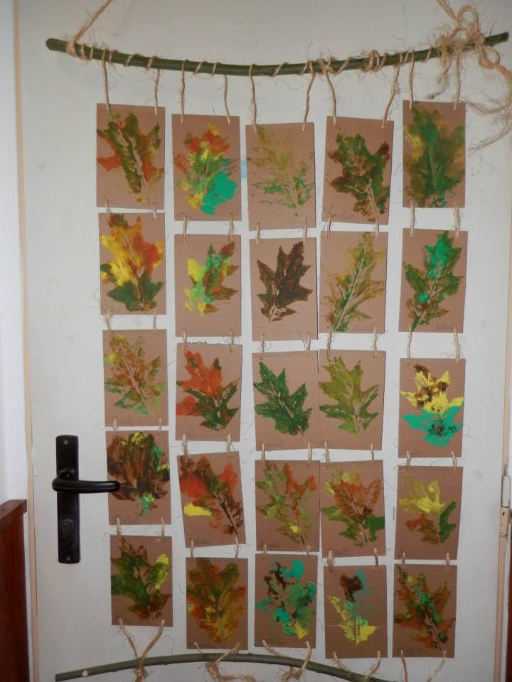 Hojas de otoño, trabajos escolares
