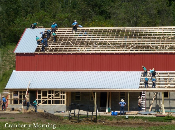 Waiting For Another Sheet Of Metal Roofing They Say U0027Rome Wasnu0027t Built In A  Day,u0027 But An Amish Barn IS Built In A Day. With The Conc.