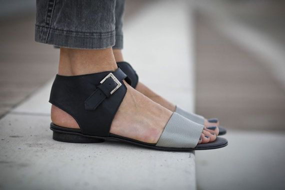 10% Sale, Chloe, Black Sandals, Black and Silver Leather Sandals, Flat Summer Shoes, Silver Strap Sandals