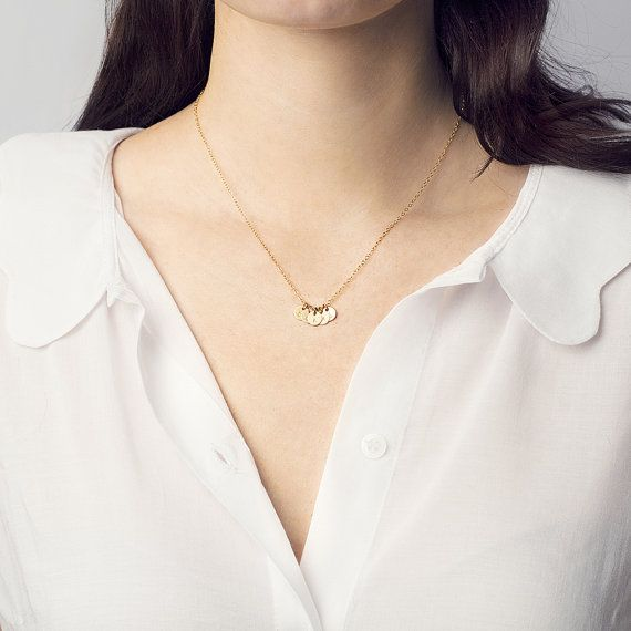 Tiny gold discs can be personalised with initials/symbols of your choice on this very dainty necklace. Choose 1 or multiple discs to create the