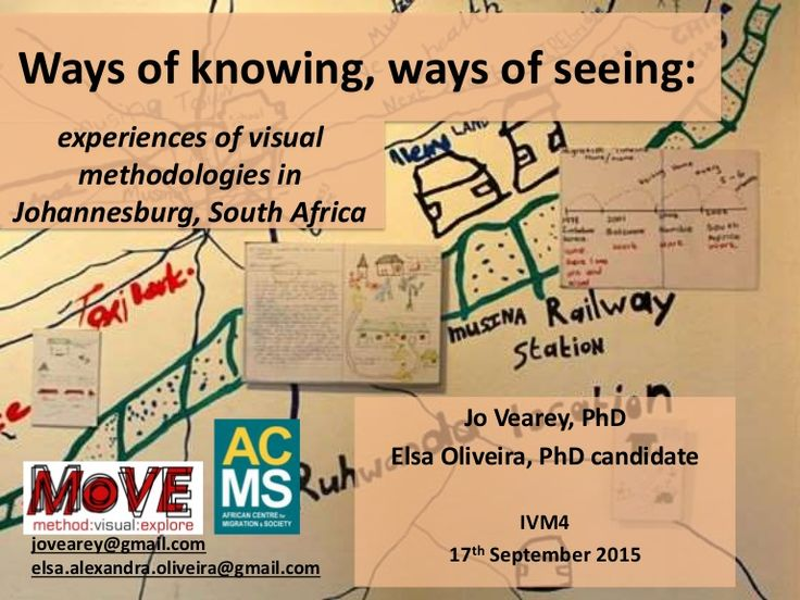 Ways of knowing, ways of seeing: Jo Vearey, PhD Elsa Oliveira, PhD candidate IVM4 17th September 2015 experiences of visual methodologies in Johannesburg, Sout…
