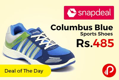 Snapdeal #DealofTheDay is offering Columbus Blue Sports Shoes Only at Rs.485. Light Weight Approx 530 Grams, Rubber Sole Material, Fabric Lining Material. Synthetic/Mesh Upper Material. This pair is smartly designed to provide excellent support and stability to your feet. It is easy to clean and maintain and also provides optimum traction.   http://www.paisebachaoindia.com/columbus-blue-sports-shoes-only-at-rs-485-snapdeal/