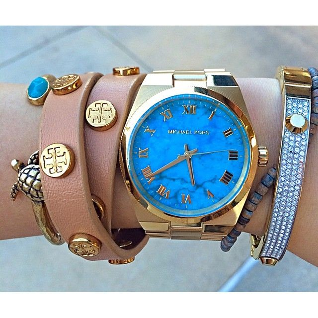 Instagram: @moana.alheli Michael Kors watch turquoise Tory burch wrap bracelet lucky brand turtle bangle