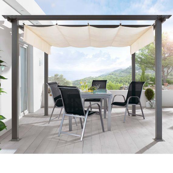 Awesome Pergola Aluminiumgestell und Polyester Dach pulverbeschichtetes Aluminium Dach Polyester Vorderansicht