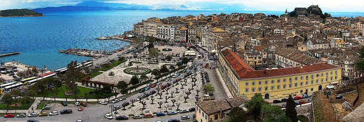 Corfu town panoramic view from new fort