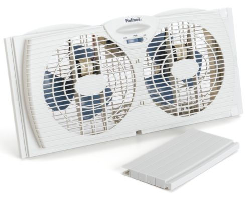 Twin-Window-Fan-Dual-Blade-White-Reversible-Air-Speed-Airflow-Adjustable