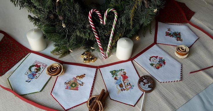 Продолжаю показывать свою подготовку к новогодним праздникам.  Гирлянда из флажков           Миниатюры из семплера Les brodeuses parisienne...