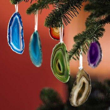 agate oraments--you could also use crystals or other semiprecious stones