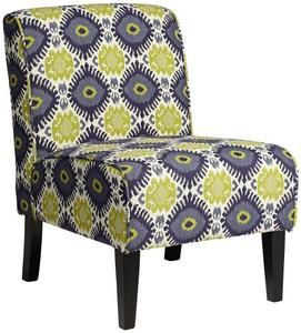 Cleo Green and Blue Ikat Armless Accent Chair