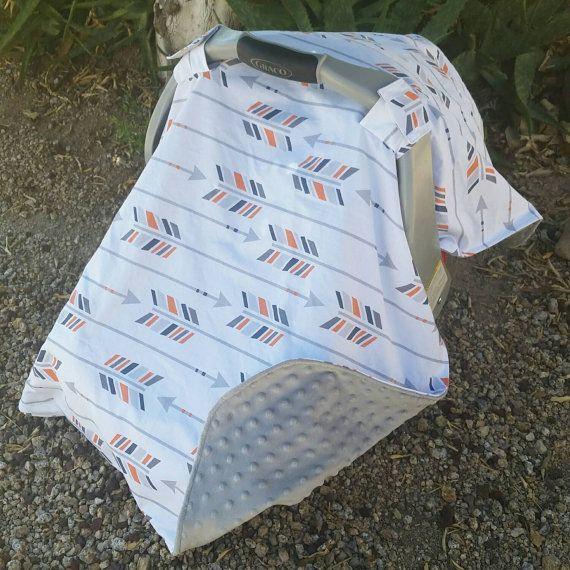 Baby Boy Car Seat Canopy White Arrows by KadydidDesigns on Etsy
