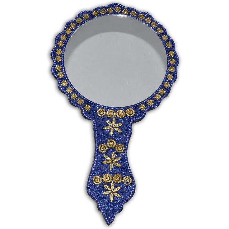 Blue Golden Trinkets Decorative Hand Mirror: Amazon.co.uk: Kitchen & Home