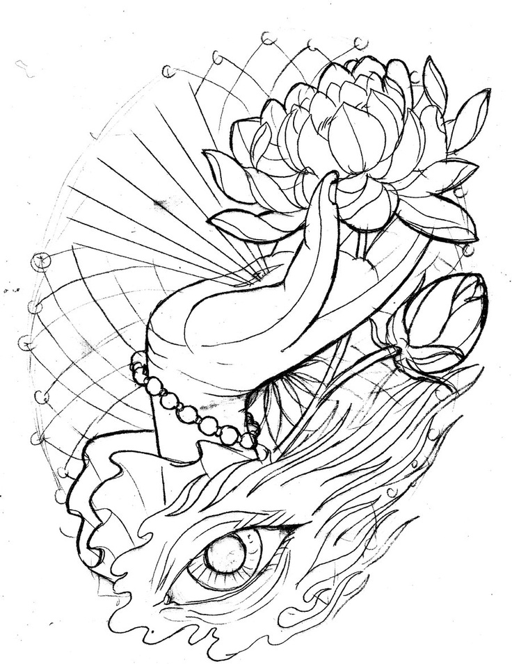 Traditional Flower Line Drawing : Neo traditional lotus hand eye sketch by tattoomasterzao