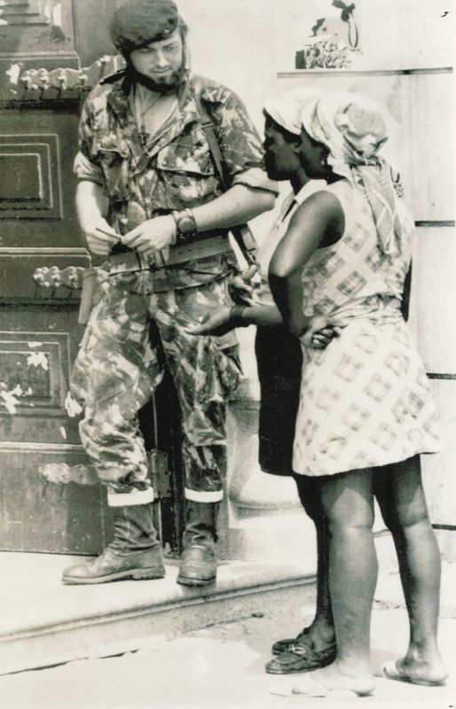 A Portuguese Marine occupying the streets of Angola in 1975.