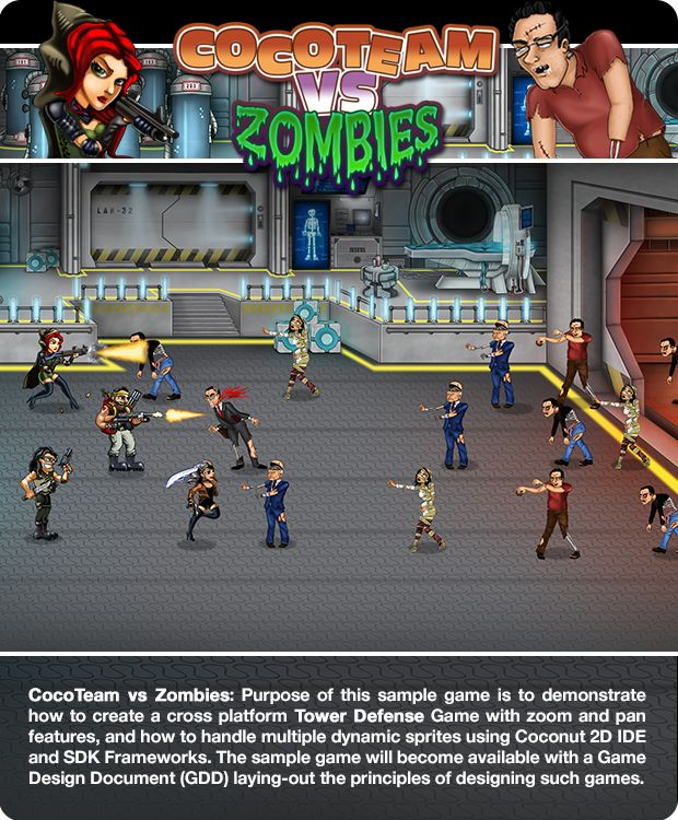 CocoTeam vs Zombies! A Coconut2D sample game to demonstrate how to create cross-platform Tower Defense game with zoom and pan features and how to handle multiple dynamic sprites using Coconut2D IDE and SDK.