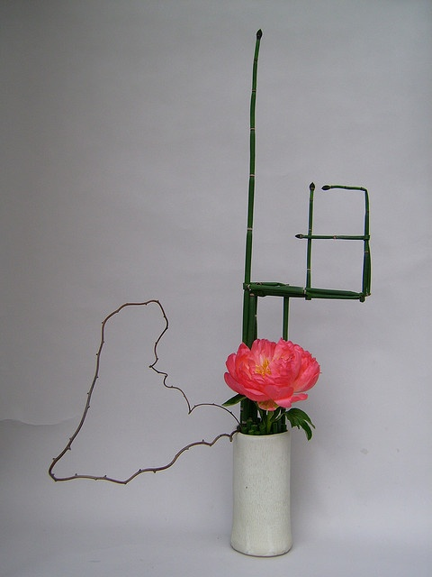 Ikebana with peonies by sogetsudc, via Flickr