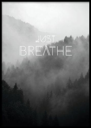 Mindfullness tavla. Vacker poster / affisch med skog och moln. Texten, Just breathe. Desenio.com