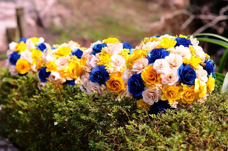Blue and Yellow Wedding Bouquets | Blue Yellow Spring Bouquet - ACCENTS AND PETALS