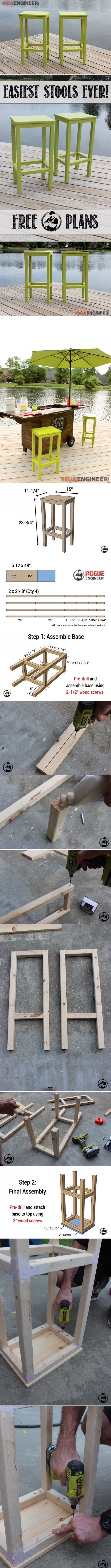 Easiest Bar Stools EVER! { Free DIY Plans } Rogue Engineer