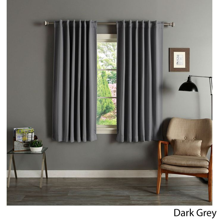 Aurora Home Solid Insulated Thermal 63-inch Blackout Curtain Panel Pair | Overstock.com Shopping - The Best Deals on Curtains