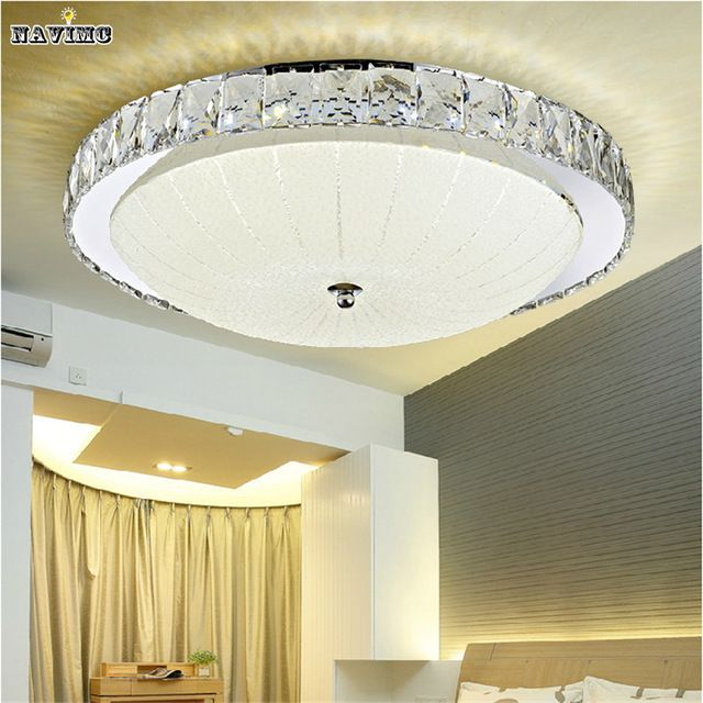 Luxury Led Flush Mount Round Crystal Ceiling Lights Fixture For Living Room  Led Wireless Kitchen Ceiling