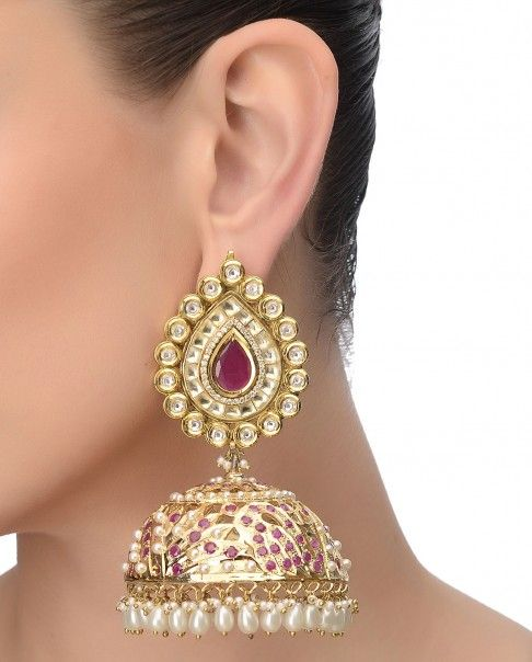 Golden Jhumka Earrings with Kundans and Pearls - Preeti Mohan - Designers