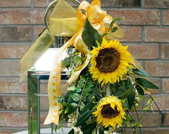 Sunflower Lantern Swag - Lantern Topper - Yellow Lantern Swag - Summer Decor - Patio Decor - Party Decor - Gift for Her - Sunflower Swag