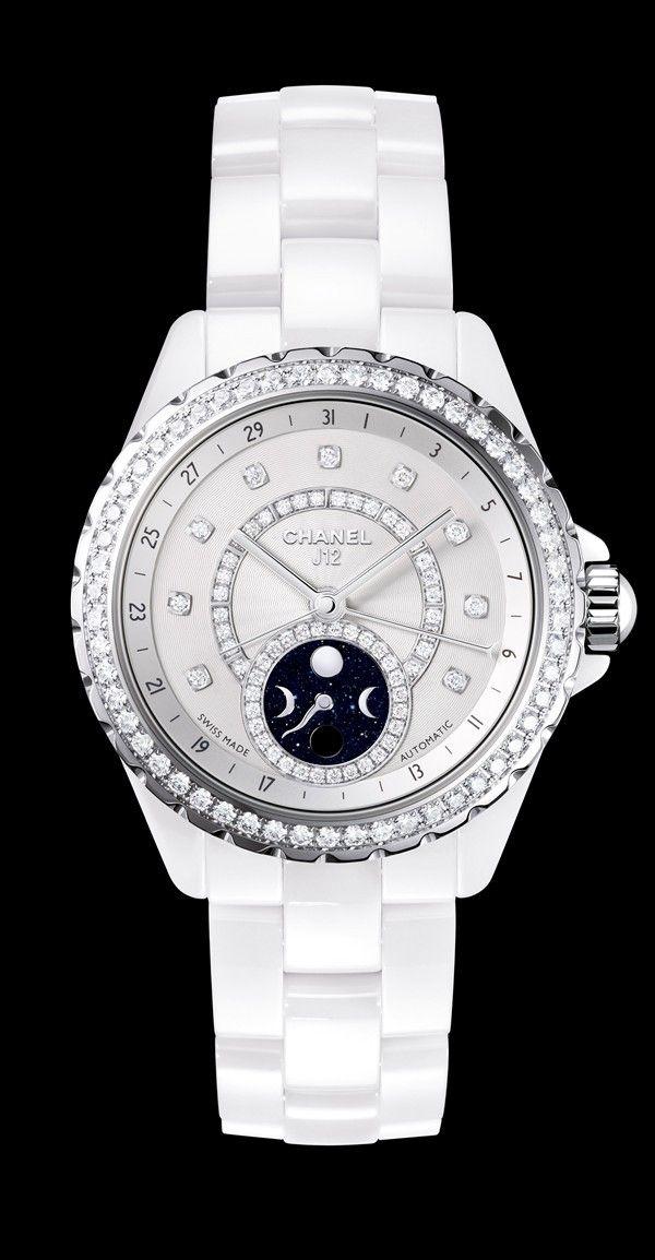 CHANEL J12 Moonphase White Ceramic with Diamonds