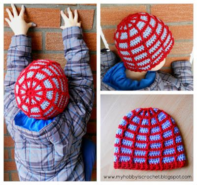 Spider web Beanie. She included a link to the free pattern in her blog, but created a different edging for her son