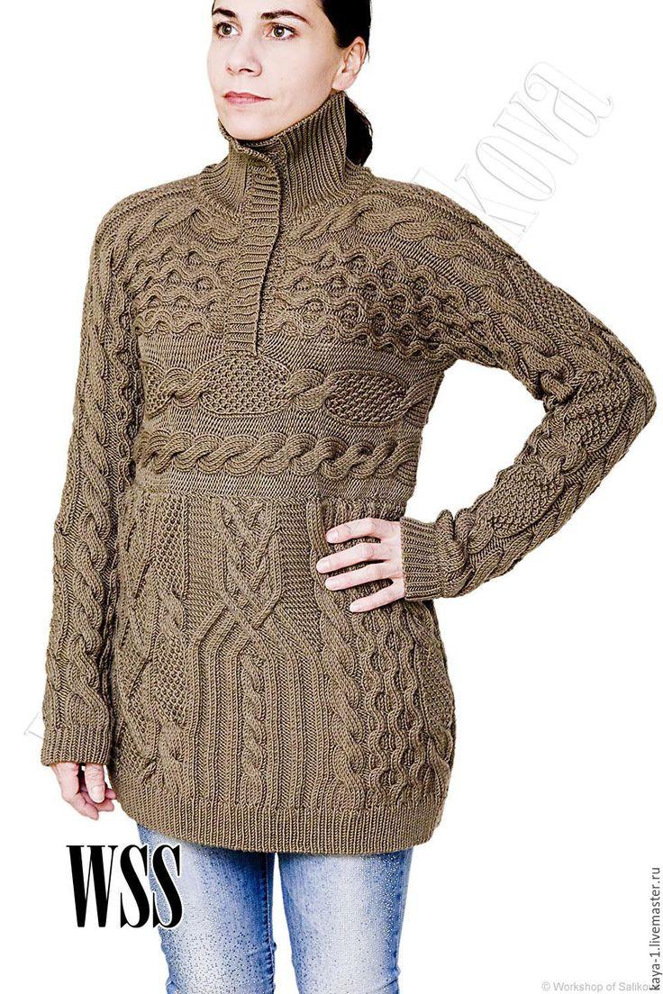 Купить Анорак вязаный ручной работы по мотивам Loro Piana из мериноса - коричневый, однотонный, женский пуловер, женский свитер, пуловер с застежкой поло, одежда ручной работы, knitwear. Заказать здесь: http://wss-shop.ru/catalog/