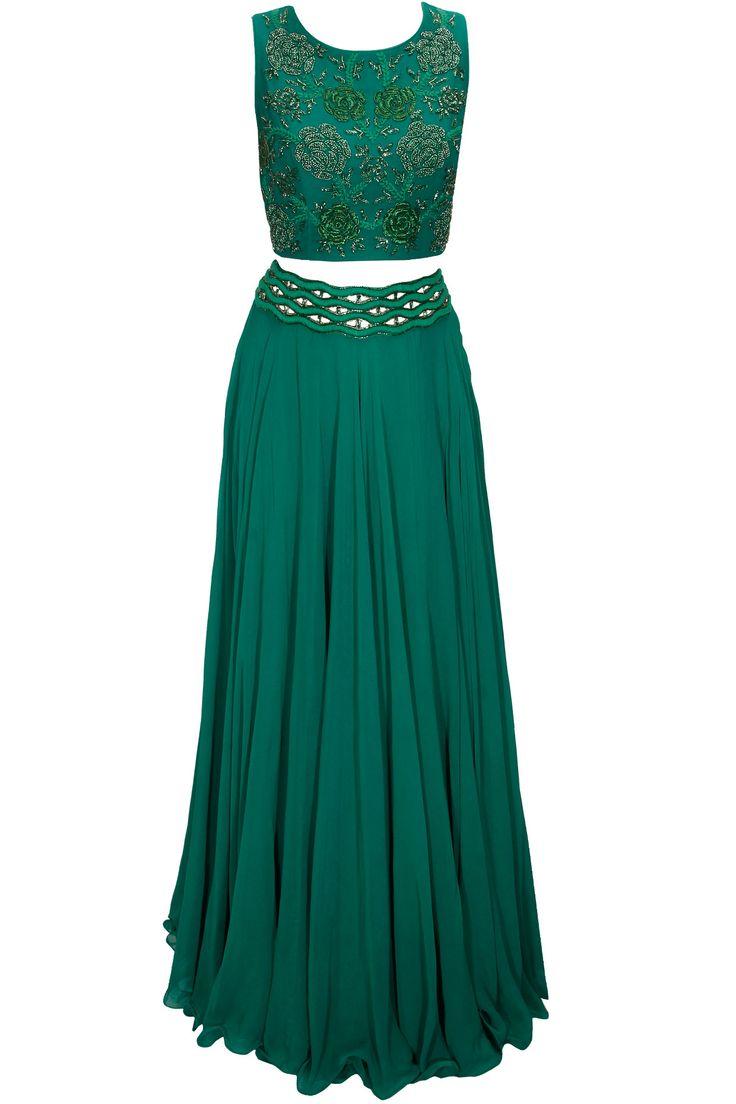 Green thread and dabka embroidered lehenga set