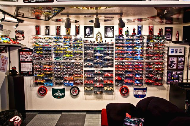 Put your diecasts and other NASCAR collectibles on display for visitors to enjoy.