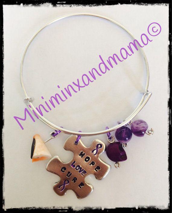 Personalised Awareness Ribbon Adjustable Bangle by MiniMinxandMama, £10.00