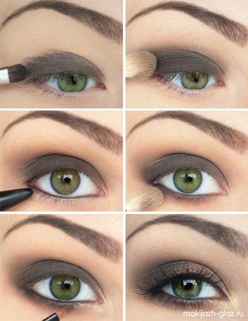 Макияж глаз поэтапно, уроки макияжа, макияж глаз для карих глаз, макияж для зеленых глаз, макияж для голубых глаз, свадебный макияж, повседневный, вечерний, звезды без макияжа - Part 5