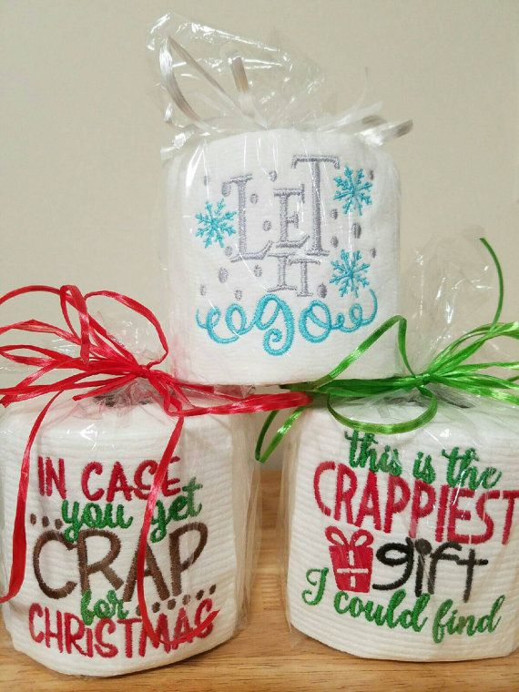 Need the perfect gift for a White Elephant party? Have a jokester in the family? This Embroidered toilet paper is just the gift you need! The roll comes embroidered, wrapped in cellophane, and tied with a ribbon. All ready for you to gift! Good information to know: * Current turn