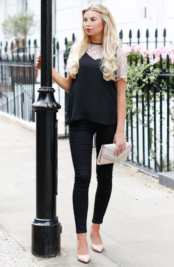 Georgia Toffolo from Made in Chelsea wears a lace 2-in-1 top from Dorothy Perkins - #streetstyle