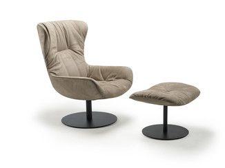Upholstered leather armchair LEYA WINGBACK | Armchair - FREIFRAU