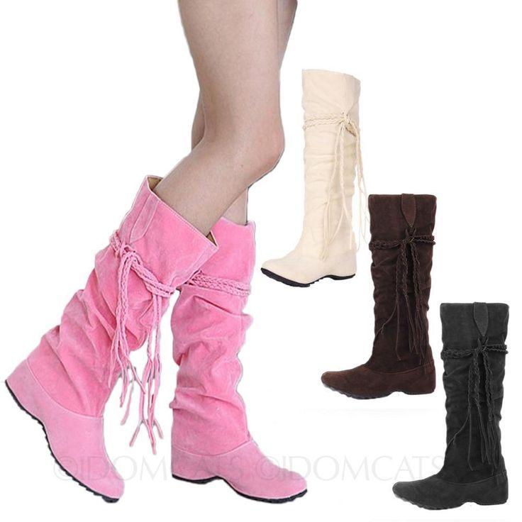 Womens Booties Casual Ladies Wedges Heel Tassle Slip On Celebrity Boots Size