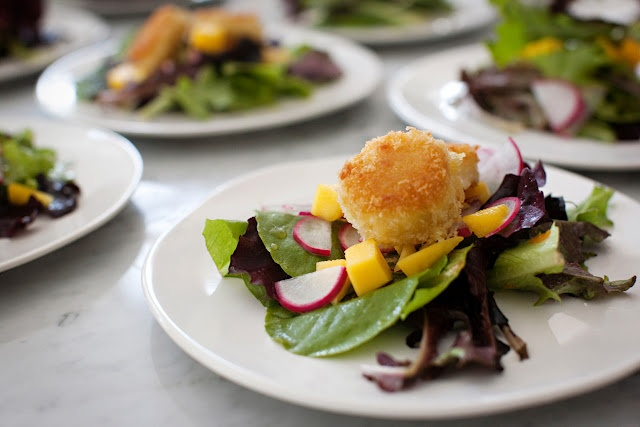 panko-crusted goat cheese salad